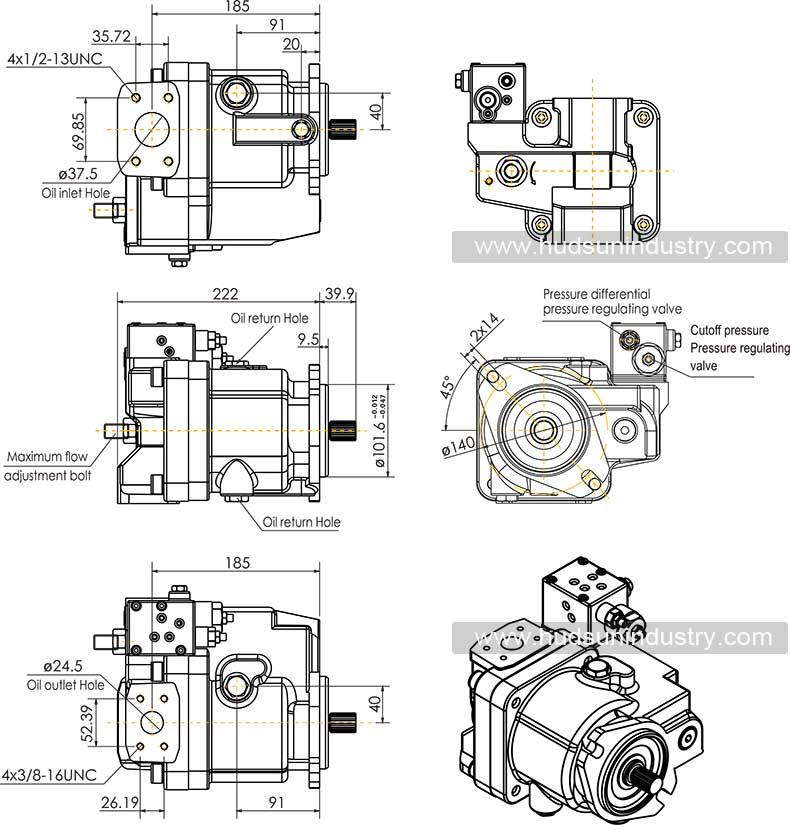 Terex-Piston-Pump-15333255-installation-dimensions